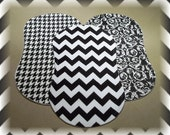Chevron Burp Cloths Contoured Set of 3 Flannel and Terry Cloth - Riley Blake Black Houndstooth