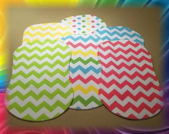 Chevron Burp Cloths Contoured Set of 6 Flannel and Terry Cloth - Riley Blake Girl Pastels