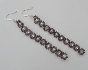 Dangle Earrings - Seed bead daisy chain