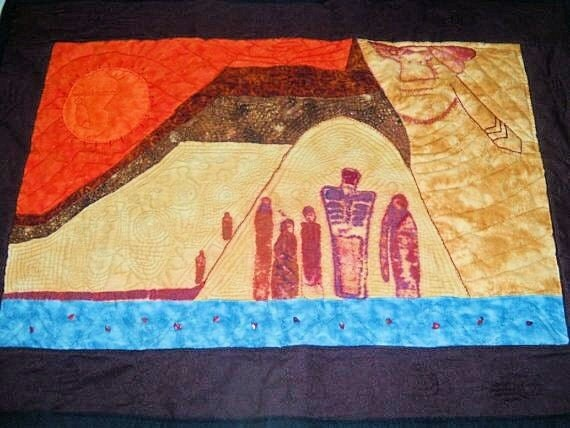 Handcrafted Original Wall Art Quilt Spirit of the Anasazi Fiber art