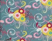 SALE...1 Yard : SUGAR Juicy Scents Girls Funky Aqua Turquiose Pink Yellow  SU907 Pat Bravo Art Gallery Quilt Fabric
