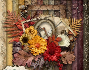 AUTUMN WHISPERS - Digital Scrapbooking Kit - 15 Papers and 60 Plus Elements -