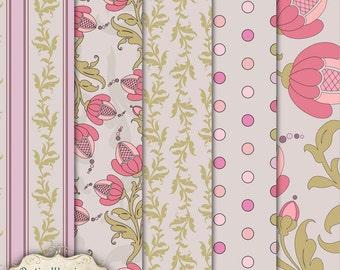 LAYERED PATTERNS - Vol 1 - Digital Scrapbooking Overlays - 5 Layered Patterns - 12 x 12 inch -3.75