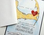Cape Cod Map Wedding Invitation Sample