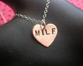 MILF-Valentine's Day Gift, Wife Gift, New Mom Gift, Push Present, Gifts for Mom, Mother's Day Gift, Cougar, Copper Heart Necklace