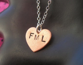 FML Necklace--Heart Charm Necklace, Heart Necklace, Metalwork Stamped Copper Heart, Handmade,