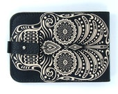 Leather card case/ Oyster card holder - Black and White Sugar Skull