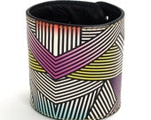 Leather cuff, wallet cuff, wallet wristband - Bold Geometric