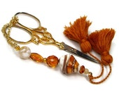 Beaded Scissor Fob, Quilting, Sewing, Cross Stitch, Golden Seashell, Brown, Orange, DIY Crafts, TJBdesigns