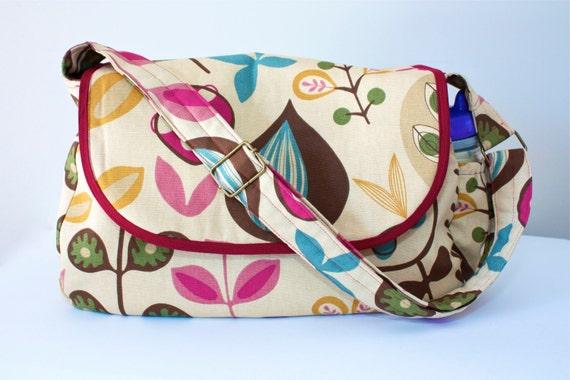 Diaper Bag with Adjustable Strap- Mod Floral - Messenger Style