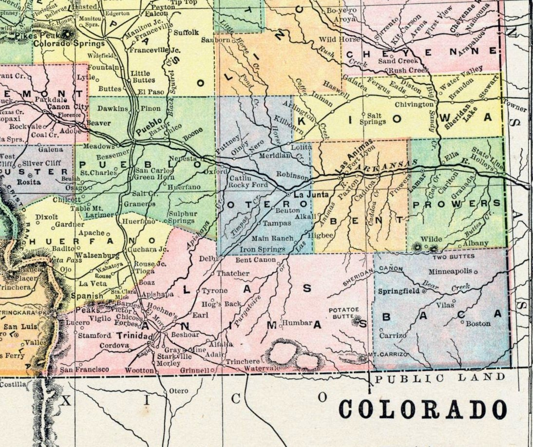 1896 Antique Map Of Colorado Antique Colorado Map Colorado