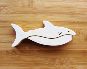 Wooden Shark Week Teether Natural Waldorf Teething Toy Jaws