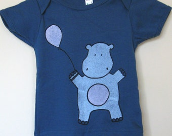 Happy Hippo T Shirt Organic Cotton Blue