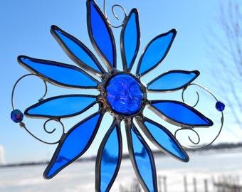 Blue Moon Flower Stained Glass Suncatcher