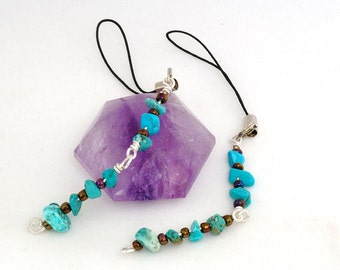 Two (2) Turquoise Flash Drive Lariat Charms made with Semi Precious Stone Chips