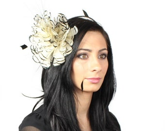 Cream and Black  Fascinator Kentucky Derby or Wedding Hat on a Headband