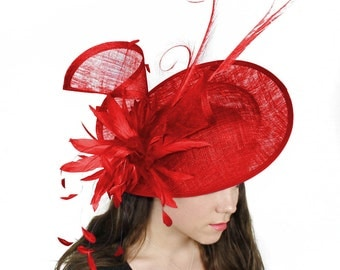Adonis Red Fascinator Hat for Weddings, Races, and Special Events With Headband