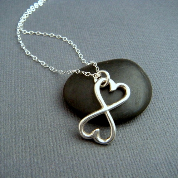 heart infinity necklace silver heart necklace two hearts. Black Bedroom Furniture Sets. Home Design Ideas