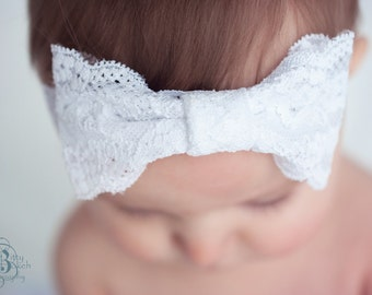 Baby and toddler white lace headband... Baby headband.... toddler headband.. white lace stretch headband