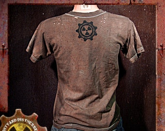 Made to Order Womens One of a Kind Ruined and Rusted Dirty and Distressed Wasteland T-shirt