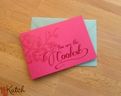 TriFold Valentine Card, Hot Pink, Magenta, You're the Coolest Greeting, Vintage Flower Graphics