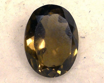 14.5 CT  ....  Faceted Smokey Quartz Gemstone ... 20 x 15  MM