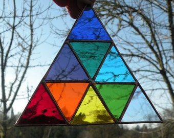 Stained Glass Rainbow triangle of triangles
