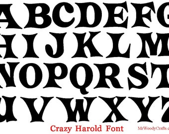 """12 Inch Unfinished Wooden Letters, 5 Fonts Georgia, Curlz , Boys R Gross, Crazy Harold and Delta Hey,  1/2"""" Thick, Ready to  Paint , 1-18"""