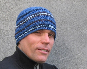 men's crochet beanie/ cobalt blue cotton