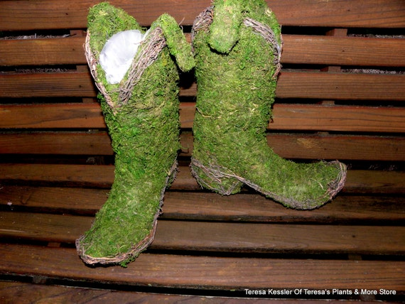 Cowboy boot moss and vine planter-preserved moss planter-Tru to life size boots for a Country wedding decor