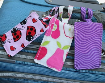 Luggage Tags - Purple and Pink, Imperfect Set of 3