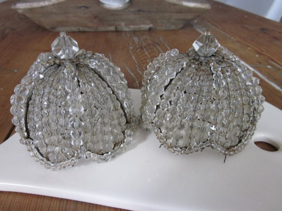 Antique French Crystal Beaded Bulb Covers Sconce Chandelier