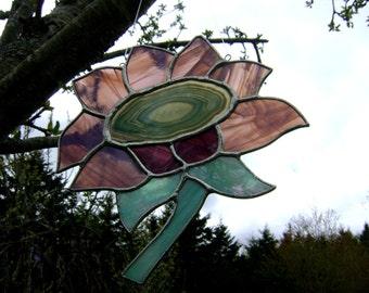 Sunflower Daisies Purple Flowers Stained Glass Valentines Suncatcher Autumn Harvest Garden Wedding Mothers Day Birthday Housewarming