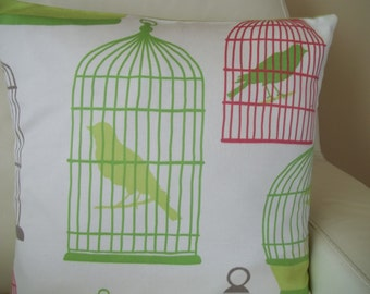 Throw Pillow Cover Birdcage 16 x 16 Hot Pink & Lime Green Decorative Pillow Cover