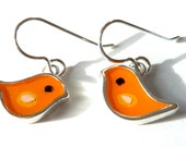 Bird earrings,sterling silver,resin inlay,orange,mixed media,hand made