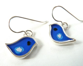 Bird Blue earrings,Sterling silver,resin inlay,mixed media