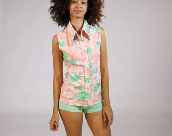 Vintage Floral button up Sleeveless Blouse - Women's Peach Mint