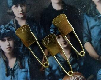 Vintage Metal Numbered Embossed Laundry Identification Pins