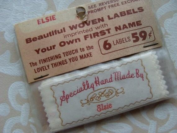 Vintage Handmade Labels for Elsie