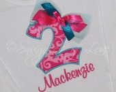 Hot Pink Birthday Shirt - Girls Birthday Shirt - ANY NUMBER - Pink and Teal with Ribbon and Tulle Bow - PERSONALIZED