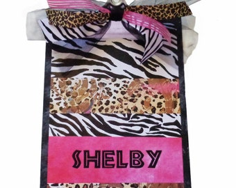 Personalized Clipboard Decorative Animal Print Zebra and Leopard You Pick the Solid Color Teacher gifts