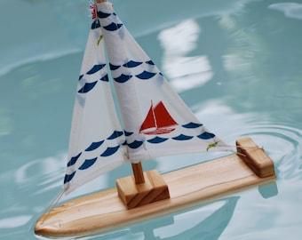 NEW Organic Nautical Wooden Sailboat