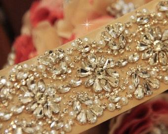 "Wedding sash 24"", Wedding Sash Belt, Bridal Sash Belt, Pearl Rhinestone Sash"