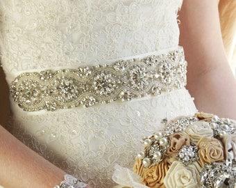 "Swarovski Bridal Sash 34"",  Wedding Sash Wedding Belt Rhinestone Sash Crystal Sash Bridal Accessories Wedding Accessories"
