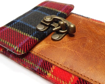 iPhone 5 / 6 / 6 Plus wallet - red , black and blue plaid