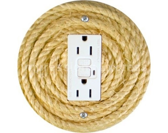 Nautical Sisal Rope Grounded GFI Outlet Plate Cover