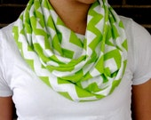 Lime Green Chevron Jersey Infinity Scarf, Womans Fashion
