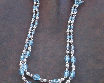 Pale Blue Faceted Double Strand Silver Tone Necklace
