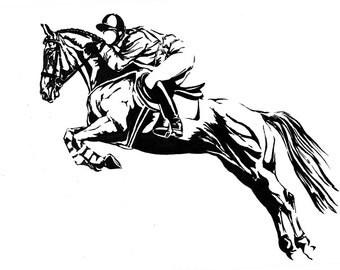 HoofPRINTS NOTECARDS EQUINE ART Horse Eventing Jumper Dressage Stationery Set 10 cards with envelopes by Joanna Zeller Quentin