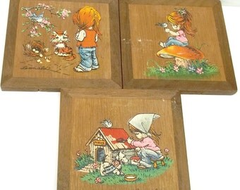3 Vintage little red haired girl hand painted frames by Leonalda, Prince Rigent company, red haired girl paintings,girl room decorations,